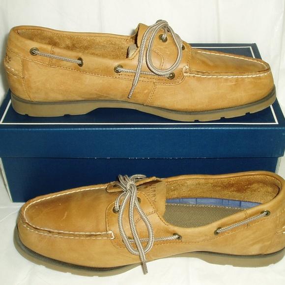 79d3a8edf58 Mens Sperry Leeward 2 Eye Sahara 12 Wide Boat Shoe